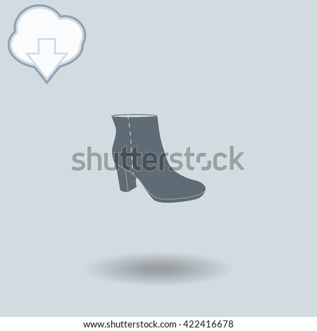 Ankle Boots icon with shadow. Cloud of download with arrow.