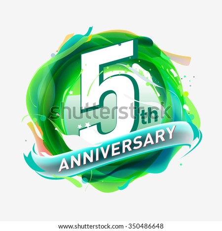 anniversary 5 - abstract green background with icons and elements - stock vector