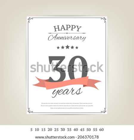 Anniversary brochure template - stock vector