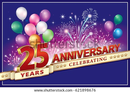 Anniversary card years old fireworks stock vector