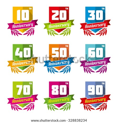 Anniversary celebration emblems in flat style. Celebrate sign, element birthday design, congratulation and decorative badge. Vector illustration - stock vector