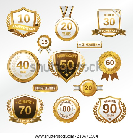 Anniversary celebration golden labels and badges set isolated vector illustration - stock vector