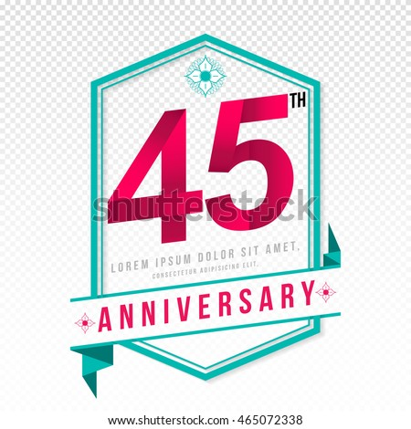 Anniversary emblems 45 anniversary template design