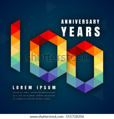 Anniversary Emblems Celebration Logo 100th Birthday Stock Vector