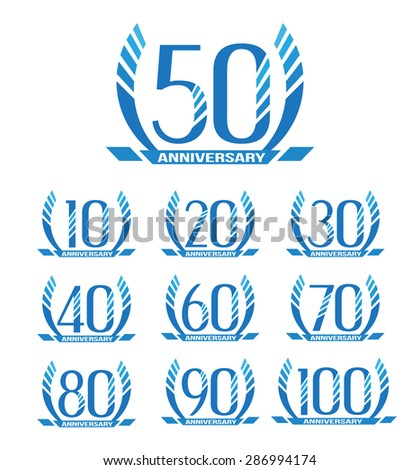 Anniversary emblems in abstract style.10th, 20th, 30th, 40th, 50th, 60th, 70th, 80th, 90th, 100th anniversary sign collection. - stock vector