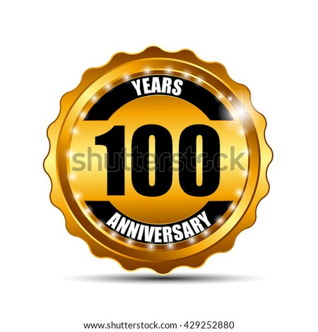 Anniversary Gild Label Sign Template Vector Illustration EPS10