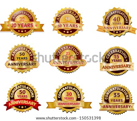 Anniversary gold badge set - stock vector