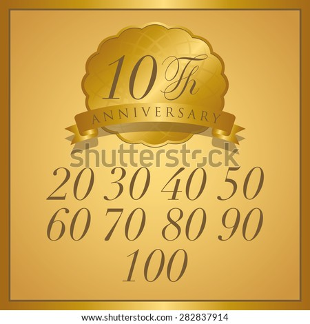 anniversary gold label with ribbon - stock vector