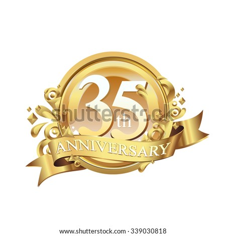 anniversary golden decorative background ring and ribbon 35 - stock vector