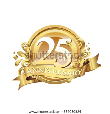 anniversary golden decorative background ring and ribbon 25 - stock vector