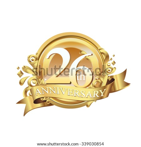 anniversary golden decorative background ring and ribbon 26 - stock vector