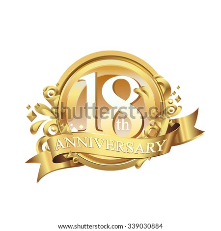 anniversary golden decorative background ring and ribbon 18 - stock vector