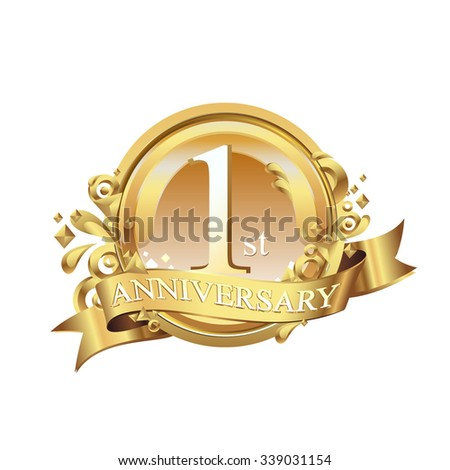 anniversary golden decorative background ring and ribbon 1 - stock vector