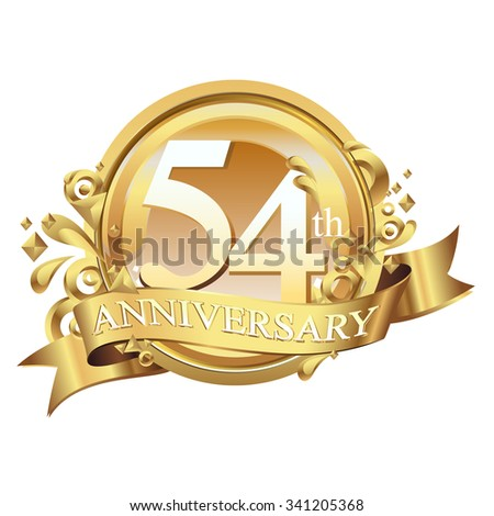anniversary golden decorative background ring and ribbon 54 - stock vector