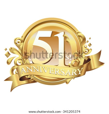 anniversary golden decorative background ring and ribbon 51 - stock vector