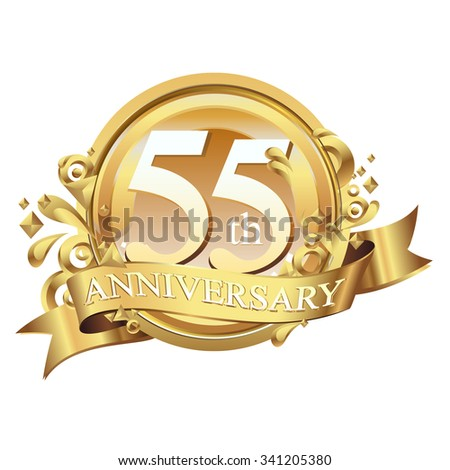 anniversary golden decorative background ring and ribbon 55 - stock vector