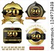 Anniversary golden labels set - stock vector