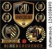 Anniversary golden labels set, shield concept - stock photo
