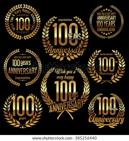 Anniversary golden laurel wreath retro vintage design 100 years