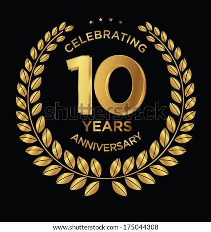 Anniversary golden laurel wreath, 10 years - stock vector