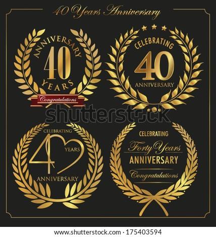 Anniversary golden laurel wreath, 40 years - stock vector