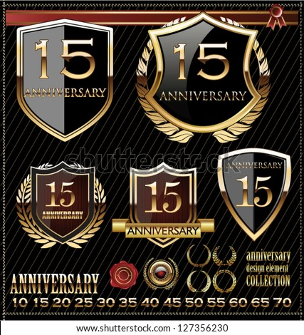 Anniversary golden shields - stock vector