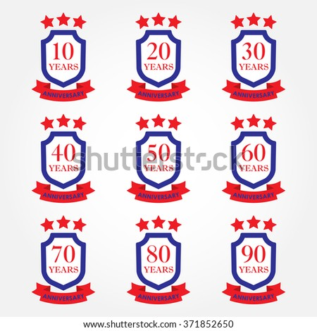 Anniversary icon set. Anniversary emblems with shield and ribbon. 10,20,30,40,50,60,70,80,90 years. Celebration, invitation and congratulation design element. Colorful vector illustration. - stock vector