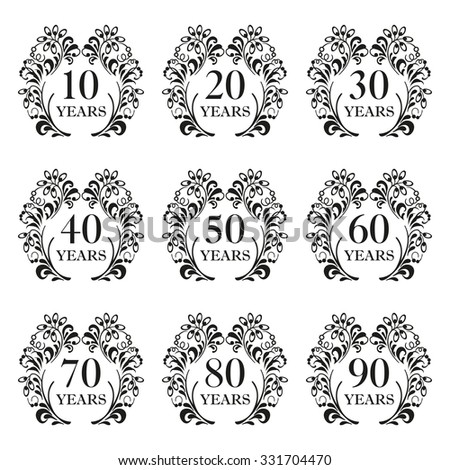 Anniversary icon set. Anniversary symbols in ornate frame with floral elements. 10,20,30,40,50,60,70,80,90 years. Template for cards and congratulation design. Vector illustration. - stock vector