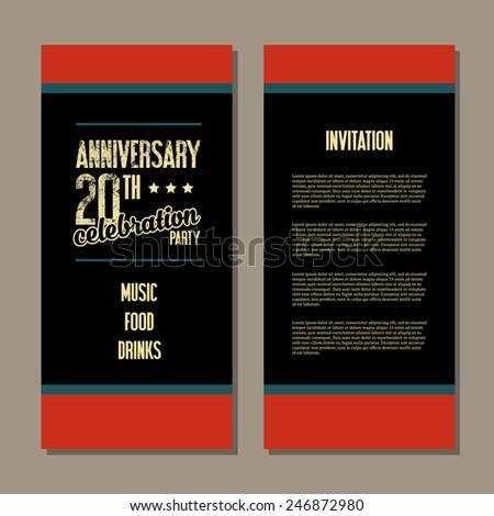 Anniversary invitation card - stock vector