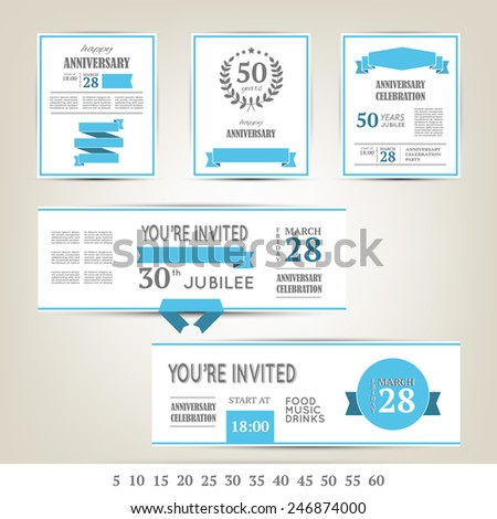 Anniversary invitation cards template - stock vector