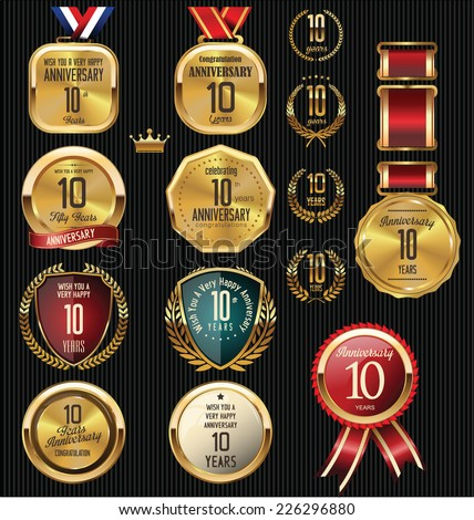 Anniversary label collection, 10 years - stock vector