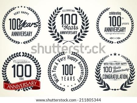 Anniversary laurel wreath design, 100 years - stock vector