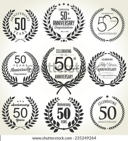 Anniversary laurel wreath design, 50 years - stock vector