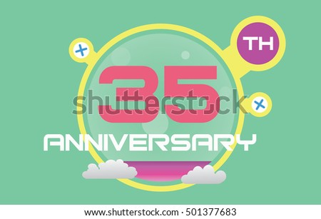 anniversary logo with yellow circle, purple liquid and clouds. anniversary logo for birthday, wedding, celebration and party 35th