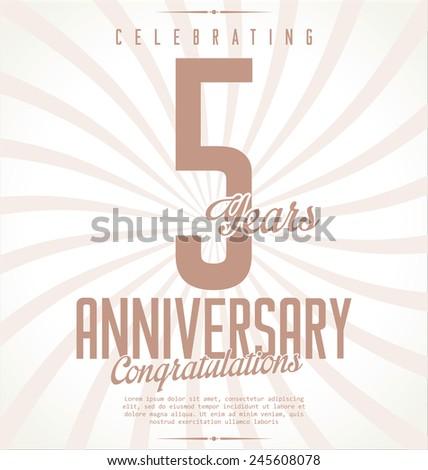Anniversary retro background, 5 years - stock vector