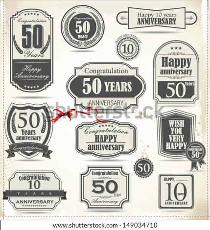 Anniversary retro badge and labels - stock vector