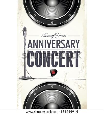 Anniversary rock concert poster - stock vector