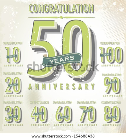 Anniversary sign collection - stock vector