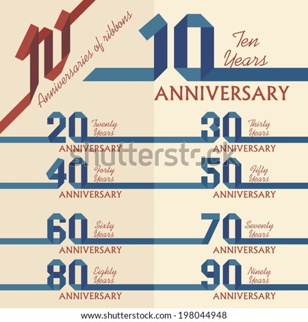 Anniversary sign collection in ribbons shape, flat design - stock vector
