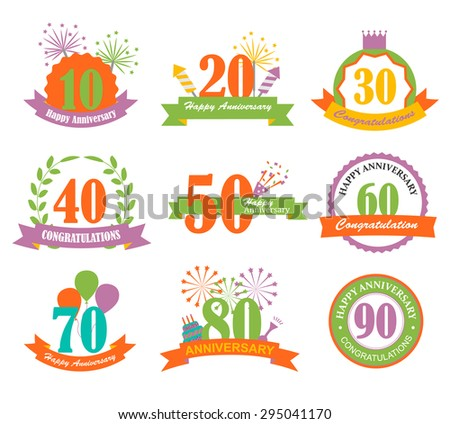 Anniversary signs and symbols with numbers set, cake, balloons, fireworks, cracker, vector illustration - stock vector