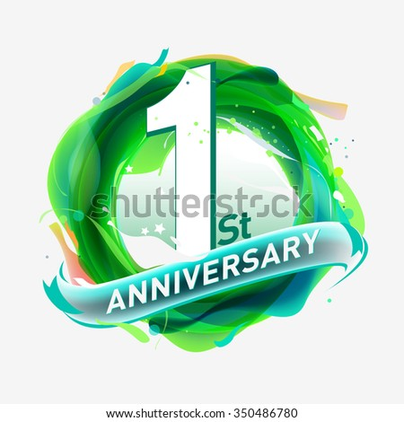 anniversary 1st - abstract green background with icons and elements - stock vector