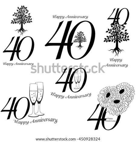 Anniversary 40th signs collection. Anniversary, birthday and jubilee emblem with oak, champagne an flowers - stock vector