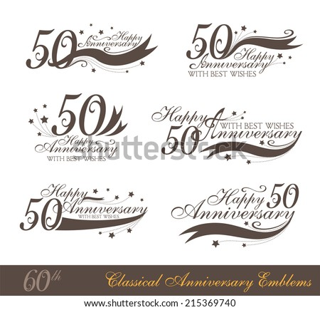 Anniversary 50th signs collection in classic style. Template of anniversary, birthday and jubilee emblems  with number editable and copy space on the ribbons. - stock vector