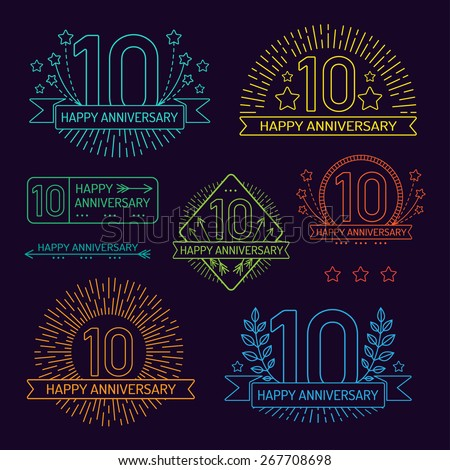 Anniversary 10th signs collection in outline style. Celebration labels with sunburst elements.  - stock vector