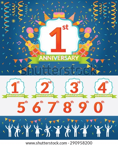 Anniversary Year Celebration and People Party Set with Number for Arrangement - stock vector
