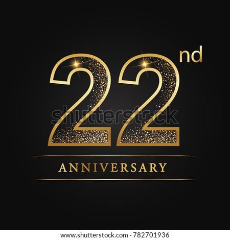 anniversary 22 years celebration logotype number star stock vector