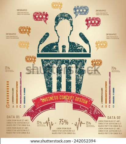 Announce Info graphic design on old paper,grunge vector - stock vector