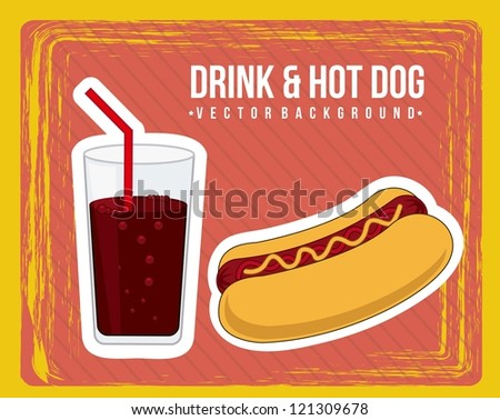announcement of hot dog, vintage style. vector illustration - stock vector