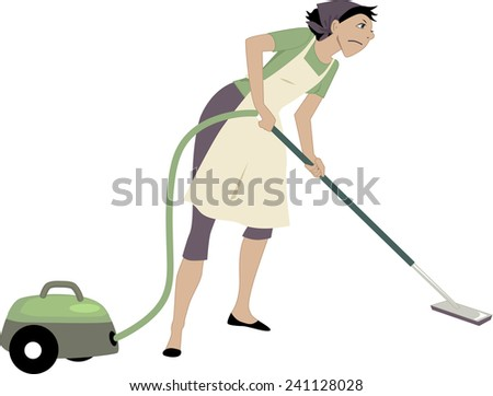 Annoyed woman vacuuming, isolated on white