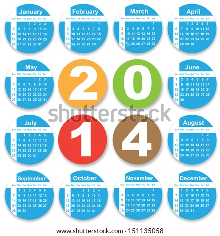Annual calendar design for 2014. English, Eps10, Sunday to Saturday. - stock vector